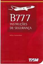 BRAZIL TAM Airlines Boing B777 Safety Card Information rev feb.2014