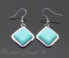 NEW BEAUTIFUL SQUARE TURQUOISE DANGLE SILVER PLATED WOMENS GIRLS EARRINGS