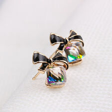 Fashion Pretty Women Crystal Rhinestone Pearl Black Butterfly Ear Stud Earrings