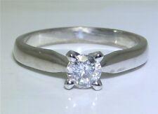 18 CT 0.3 CT Oro Blanco Diamante Anillo De Compromiso Piedra Única, Talla N