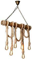 Lampadario a sospensione corda in canapa 6 attacchi E27 lampada country rustica