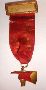 Vintage 1947 Fireman axe enamel  medal whitehead and hoag