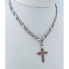 GORGEOUS solid 925 Sterling Silver Red Orange Coral Cross Link Necklace