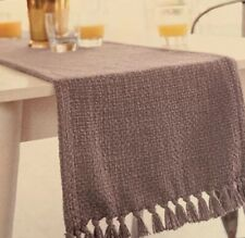 "Threshold Gray Fringed Basket Weave Table Runner Cotton NEW 14 X 108"" Extended"