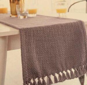 "Threshold Gray Fringed Basket Weave Table Runner Cotton NEW 14 X 108"" Extended"