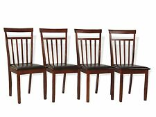 Rich Dining Chair Set 4 Piece Dark Walnut Finish Solid Wood Padded Seat