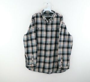 Vintage Carhartt Mens XL Tall XLT Spell Out Double Pocket Plaid Flannel Shirt
