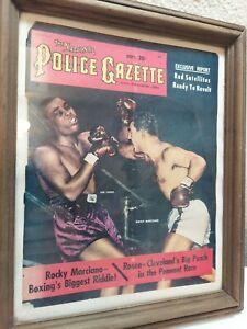 "Police Gazette Magazine Cover Rocky Marciano & Joe Lewis Framed  10"" X 12"" R"