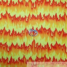 BonEful Fabric Cotton Quilt Yellow Red Orange FIRE Stripe Flame Boy Girl L SCRAP