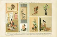 Farbtafel JAPANISCHE KUNST / MALEREI Original-Lithographie 1894