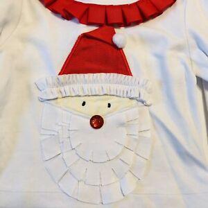 Mud Pie Infant Top White Applique Santa Face 12-18 Months Red Pom Pom Trim