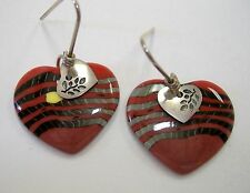 Ember Heart Earrings Porcelain Unique Red Black Handmade Pierced Hook New Gift