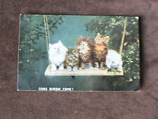 Vintage Postcard, 5 Cats on Garden Swing Looking for Birds