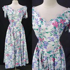 Vintage 90s Romantic Garden Party Off-Shoulder Full Skirt Cotton Dress S