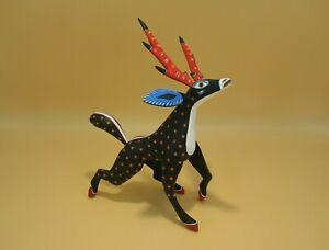 Oaxacan Wood Carving Alebrije Reaching Deer Mexican Folk Art
