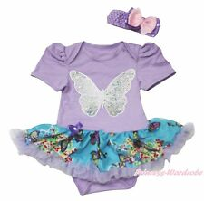 Bling Butterfly Lavender Bodysuit Girls Kid Romper Baby Dress Outfit Set NB-18M