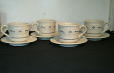 Set of 4 Longaberger Pottery Blue Woven Traditions Coffee Tea Cups w/Saucers