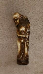 Antique Stag Antler Yokai (Jakotsu Baba) Old Snake-Bone Woman Netsuke Okimono.