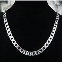 Wholesale 925Sterling Silver Flat Sideways Men Chain Necklace 10MM 20inch N005