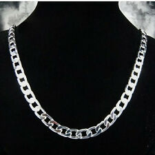 Wholesale 925Sterling Silver Flat Sideways Men Chain Necklace 10MM 20inch N005