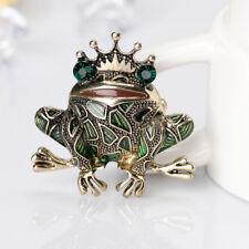 ES_ Frog Style Brooch Pin Shiny Rhinestone Enamel Dress Hat Accessory Gift Advan