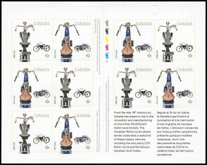 Canada Stamp BOOKLET#2648a (BK540) - Motorcycles (2013) 10 x P (63¢)