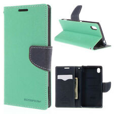 Korean Mercury Goospery Fancy Diary Wallet Case Cover for Sony Xperia M4 Green