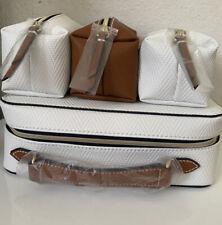 ESTEE LAUDER White Faux Leather Travel Cosmetic/ makeup Bag case 4Pcs