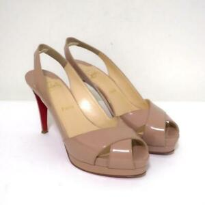 Christian Louboutin Soso Crisscross Sandals Nude Patent Leather Size 38.5