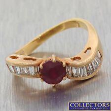 Vintage Estate 14k Rose Gold Ruby Baguette Diamond 5mm Band Ring Y8