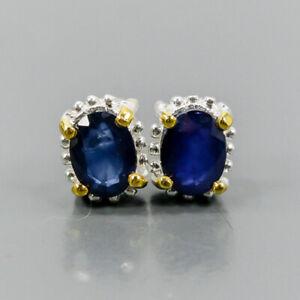 Fine Art Blue Sapphire Earrings Silver 925 Sterling   /E52052