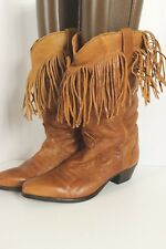 Capezio Womens Brown Supple Soft Leather Fringe Western Cowboy Boots Sz 9 M USA