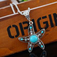 1 Damen Mode Halskette Seestern Türkis Anhänger Grün Strass Silberfarbe 46.5cm