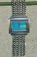 ECCLISSI STERLING SILVER TURQUOISE DIAL MULTI CHAIN BRACELET WATCH 77.1 grams