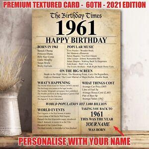 60th 1961 Birthday Present Gift Idea Poster Print Back In Edition Milestone -36