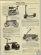 1923 PAPER AD Dis Wheel Sidewalk Scooter Pioneer Coaster Wagon Bicycle Motorbike