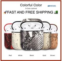 Premium Luxury Leather AirPods Charging Case Cover SNAKE Skin for Airpod 1/2