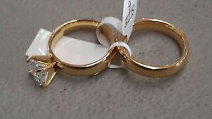 Women's Simulated Diamond Ion yellow gold plated stainless steel wedding set new