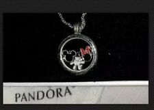 New $175 Pandora Sterling Silver 925 Floating Locket Necklace & 3 Disney Charms