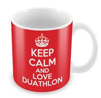 KEEP CALM And Love Duathlon Mug - Coffee Cup Gift Idea present sports