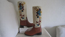 Miu Miu Light Brown Leather Shearling Embroidered Boots Sz 391/2 US 9 $995