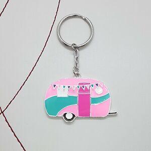 Pink caravan enamel keyring
