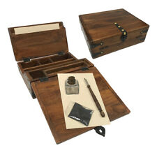 Antique Style Slope Slanted Wood Travel Writing Lap Desk Box and Accessories