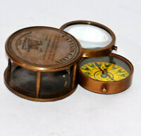 Antique vintage brass compass collectible magnifying glass & compass good gift