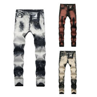 Mens Ripped Skinny Pants Jeans Distressed Stretch Denim Washed Frayed Trousers