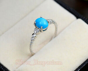 Sterling 925 Silver Natural 6X8 MM Turquoise Gemstone Engagement Ring For Women