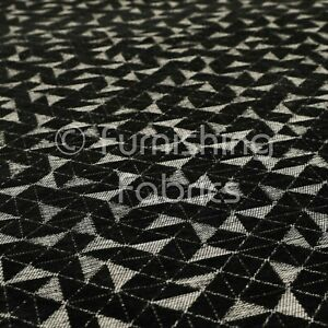 Modern Small Geometric Pattern In Soft Black Chenille Upholstery Interior Fabric
