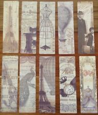 Fabulous Vintage Paris Images Bookmark Gift Tag x 18 Kraft Paper Gold Highlights