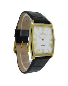 Croton CN307165BSDW Men's Analog White Tonneau Roman Numeral Black Leather Watch