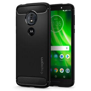 For Motorola Moto G6 Play E5   Spigen®[Rugged Armor] Black TPU Slim Case